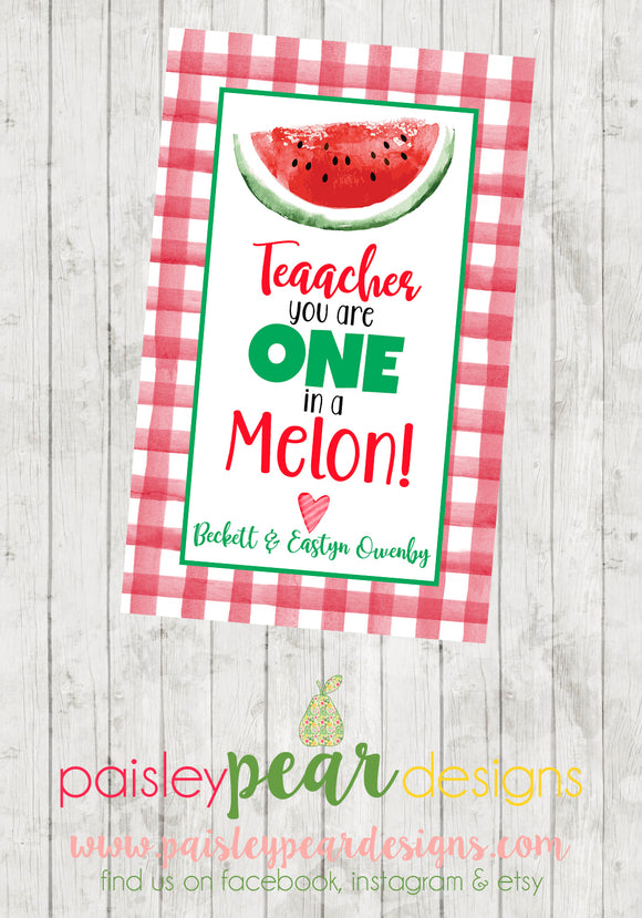 One in a Melon - Teacher Appreciation Tags