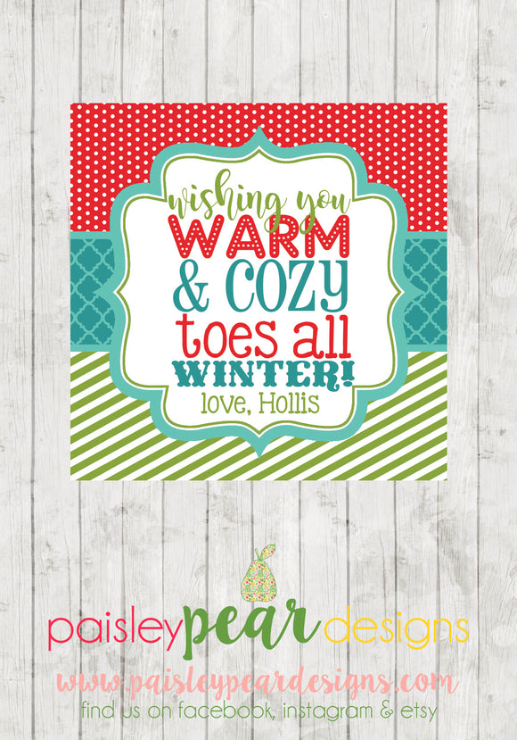 Warm & Cozy Toes - Christmas Treat Tags