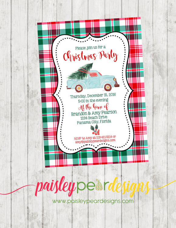 Christmas Tree and Truck - Christmas Party Invitation