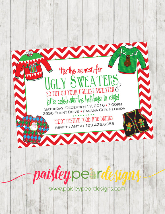 Ugly Sweater Party - Christmas Party Invitation