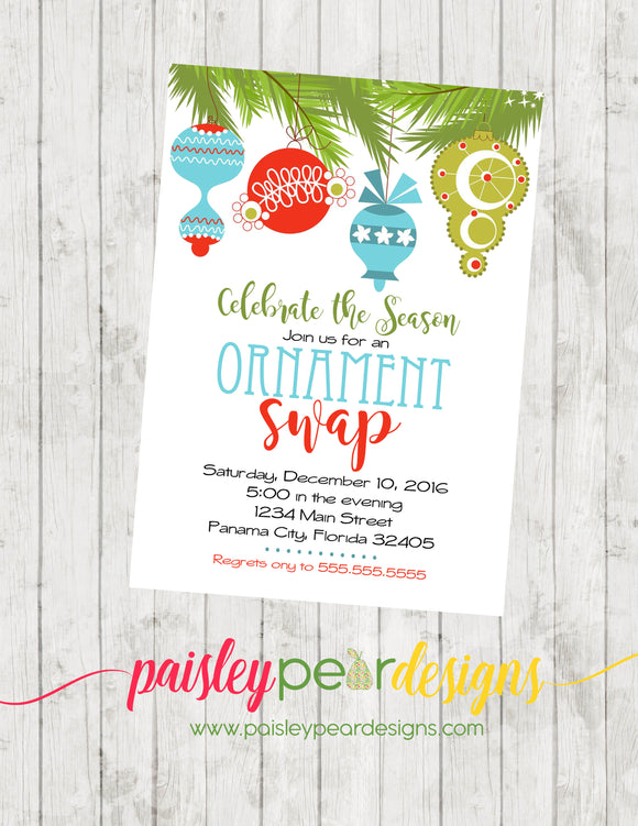 Ornament Swap - Christmas Party Invitation