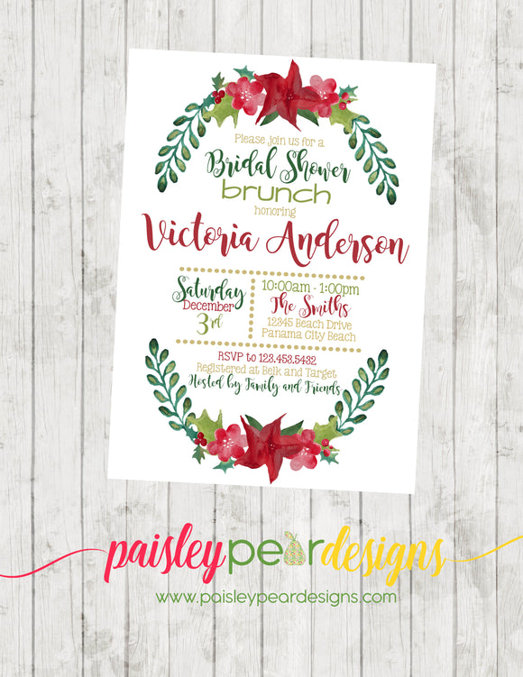 Christmas Brunch Shower - Christmas Party Invitation