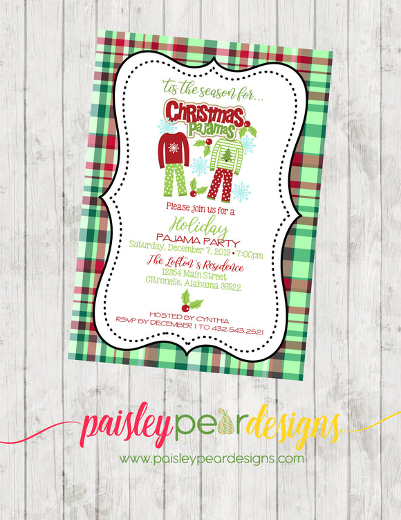 Christmas Pajama Party - Christmas Party Invitation