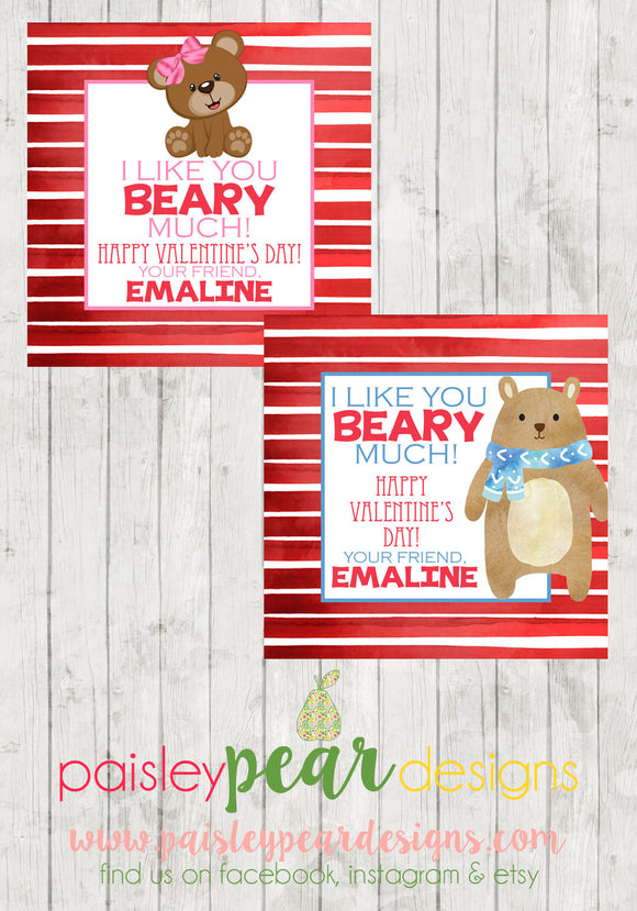 Beary Much - Valentine Tags