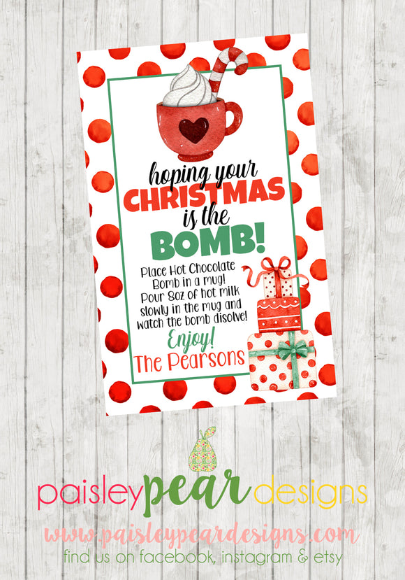 Christmas is the Bomb - Hot Chocolate Bomb - Christmas Treat Tags