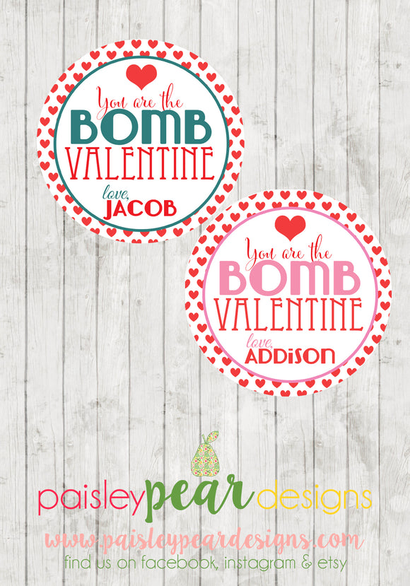 You are the Bomb - Valentine Tags