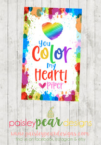 You Color My Heart - Valentine Tags