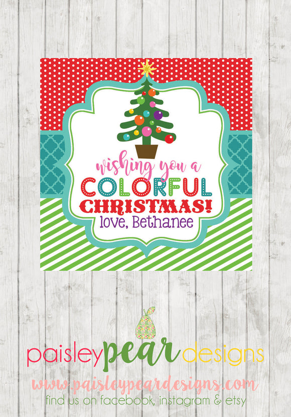 Colorful Merry Christmas - Christmas Treat Tags