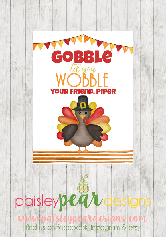 Gobble til you Wobble - Thanksgiving Tag