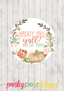 Happy Fall Y'all Floral Tag