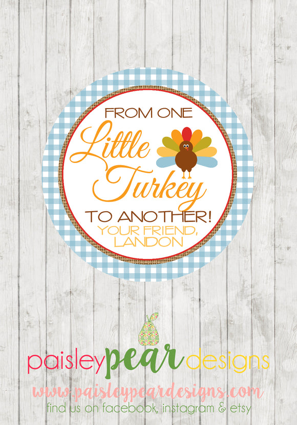 Little Turkey Blue - Thanksgiving Tag