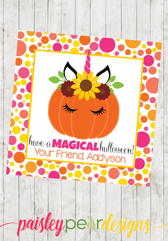 Magical Halloween Unicorn Tag