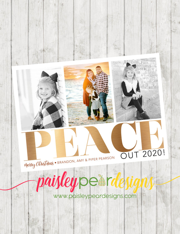 Peace Out 2020 - Christmas Photo Card
