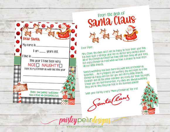 Dear Santa Letter - Return Letter - Envelopes
