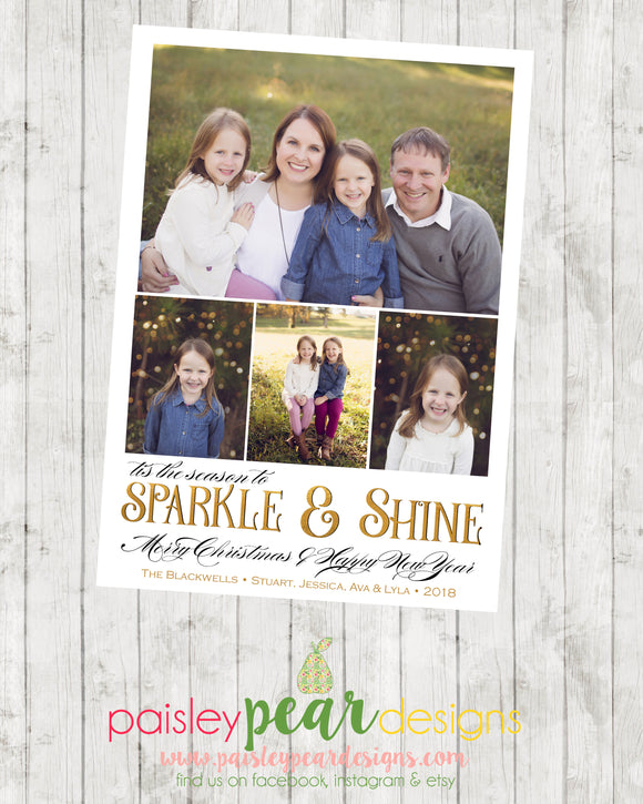 Sparkle & Shine - Christmas Photo Card