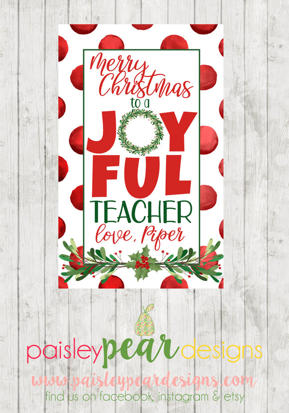 Joyful Teacher - Christmas Treat Tags