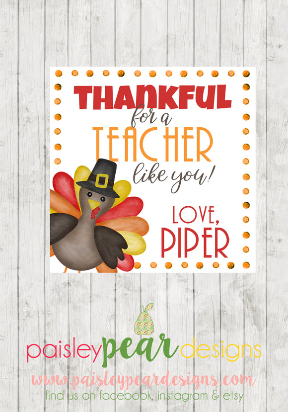 Thankful for a Teacher - Thanksgiving Tag