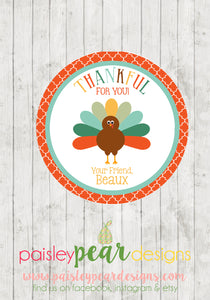 Thankful for You Orange - Thanksgiving Tag