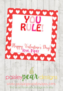 You Rule - Valentine Tags