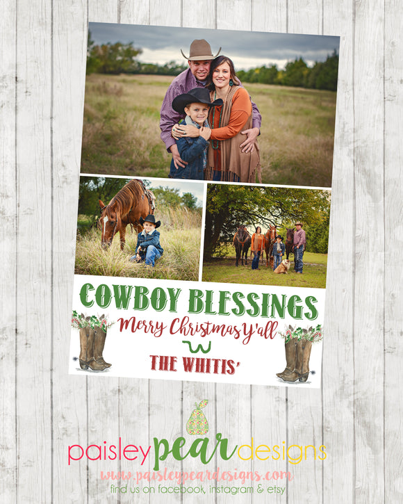 Cowboy Christmas - Christmas Photo Card