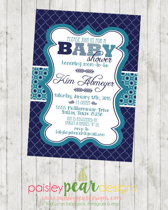 It's a Boy! - Baby Shower - Invitation - customizable - DIGITAL IMAGE AVAILABLE