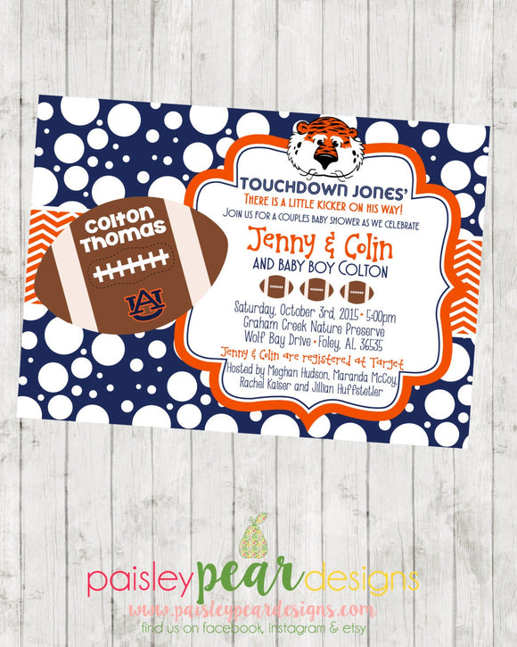 Football - Baby Shower - Invitation - customizable for your favorite team- DIGITAL IMAGE AVAILABLE