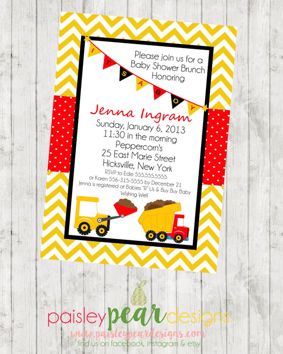 Trucks - Baby Shower - Invitation - customizable for your favorite team- DIGITAL IMAGE AVAILABLE