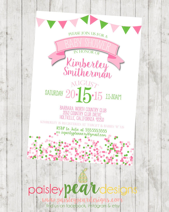 Confetti - Banner - Fun - Baby Shower - Invitation - customizable - DIGITAL IMAGE AVAILABLE