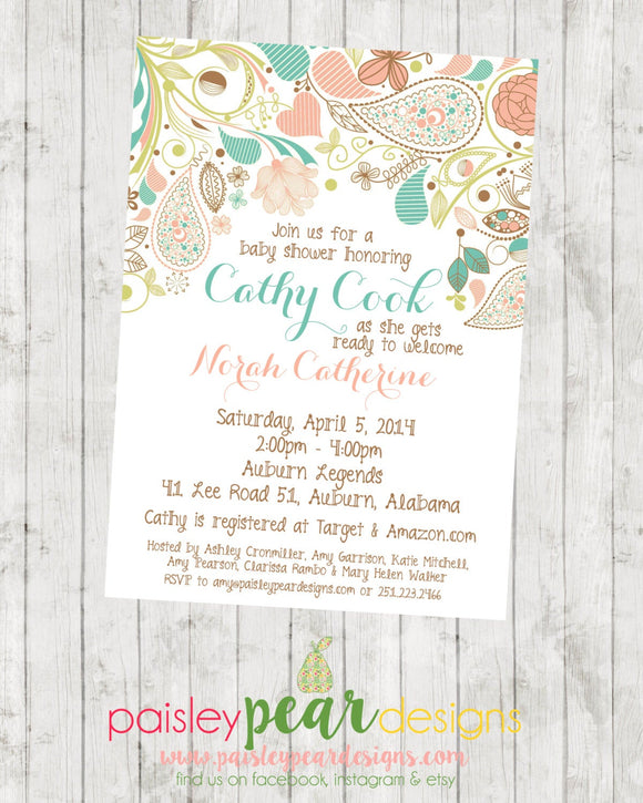 Flourish - Floral - Baby Shower - Invitation - customizable - DIGITAL IMAGE AVAILABLE