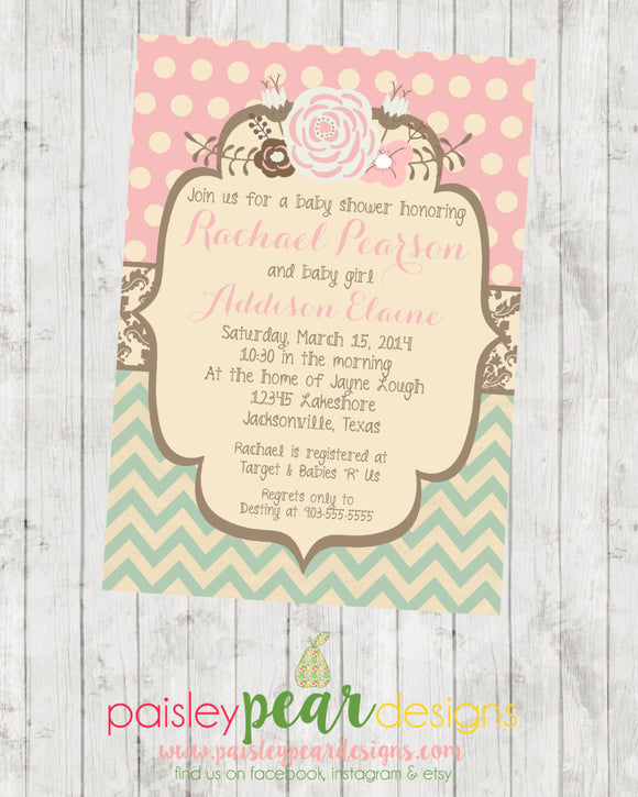 Vintage Floral - Baby Shower - Invitation - customizable - DIGITAL IMAGE AVAILABLE