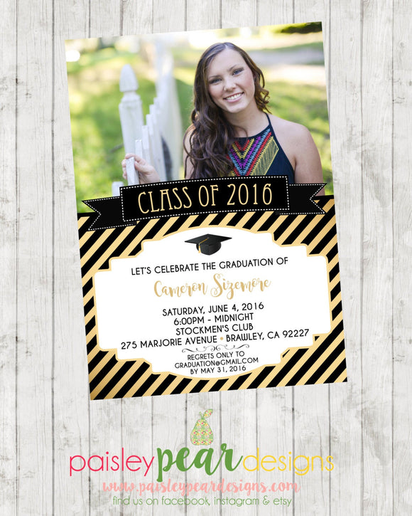 Graduation - Class of 2016 - Invitation - Party - DIGITAL IMAGE AVAILABLE
