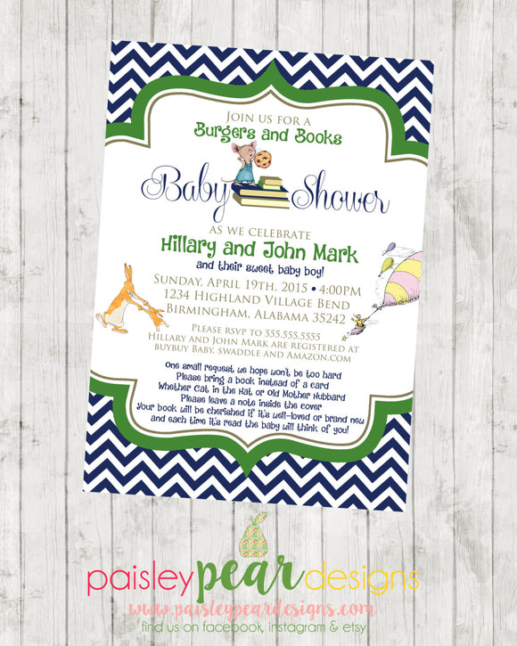 Reading and Book Theme - Baby Shower - Invitation - customizable - DIGITAL IMAGE AVAILABLE