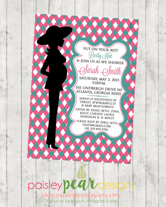 Derby Hat - Baby Bump - Baby Shower - Invitation - customizable - DIGITAL IMAGE AVAILABLE