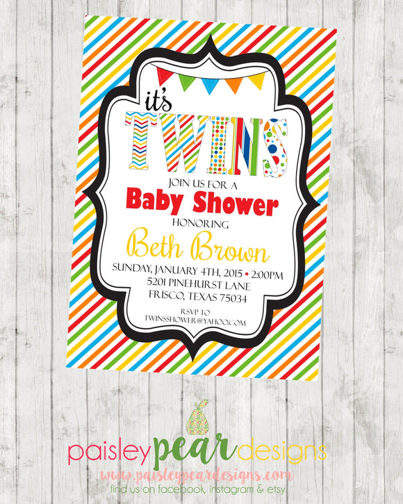 Twins - Colorful and Fun - Baby Shower - Invitation - customizable - DIGITAL IMAGE AVAILABLE