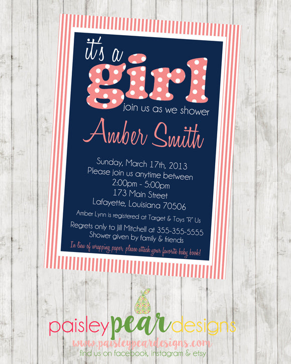 It's a Girl - Preppy - Baby Shower - Invitation - customizable - DIGITAL IMAGE AVAILABLE