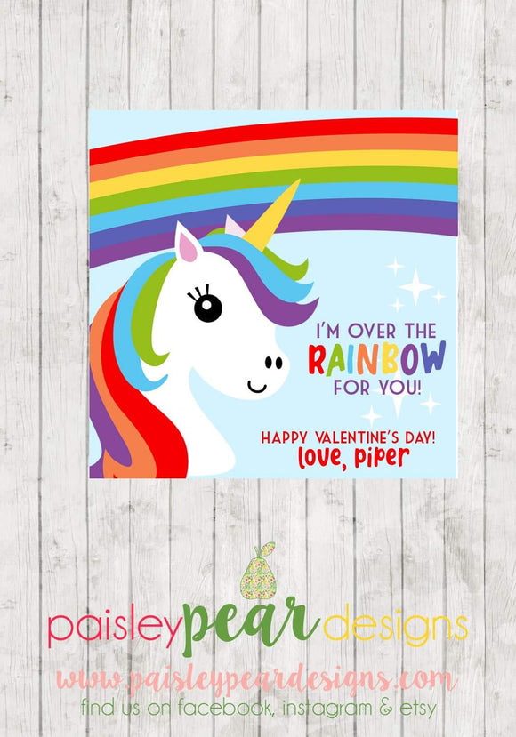 Rainbows and Unicorns Valentine Tags