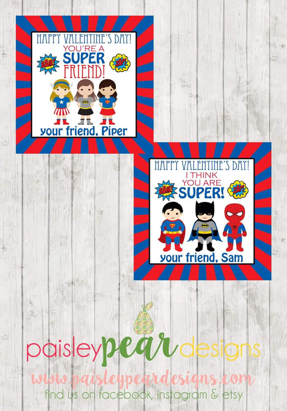 SuperHero Boy or Girl - Treat Tags