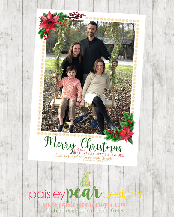 Poinsettia Christmas - Christmas Photo Card