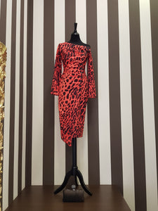 ANIMAL PRINT RED DRESS