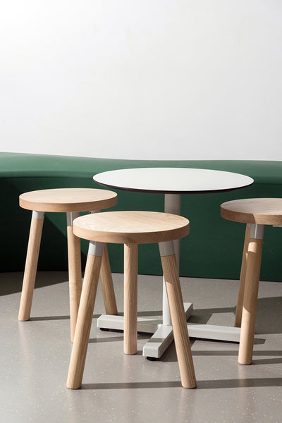 Partridge Low Stool   White Ash Timber   Flinders University   1000 Chairs   James Grose Photography
