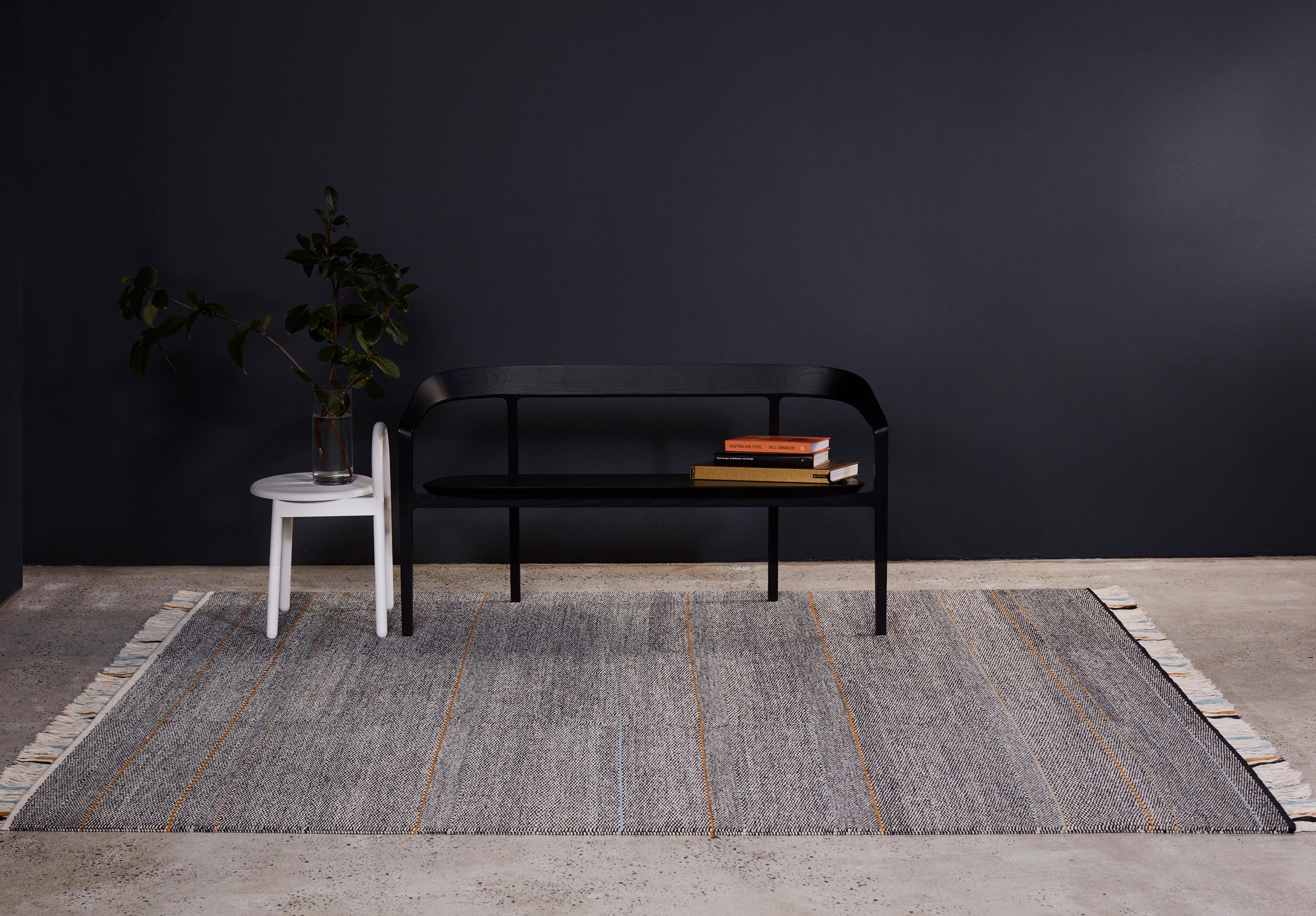 Griglia Rugs by Tappeti   Bow Bench and Bobby Metal Stool   DesignByThem