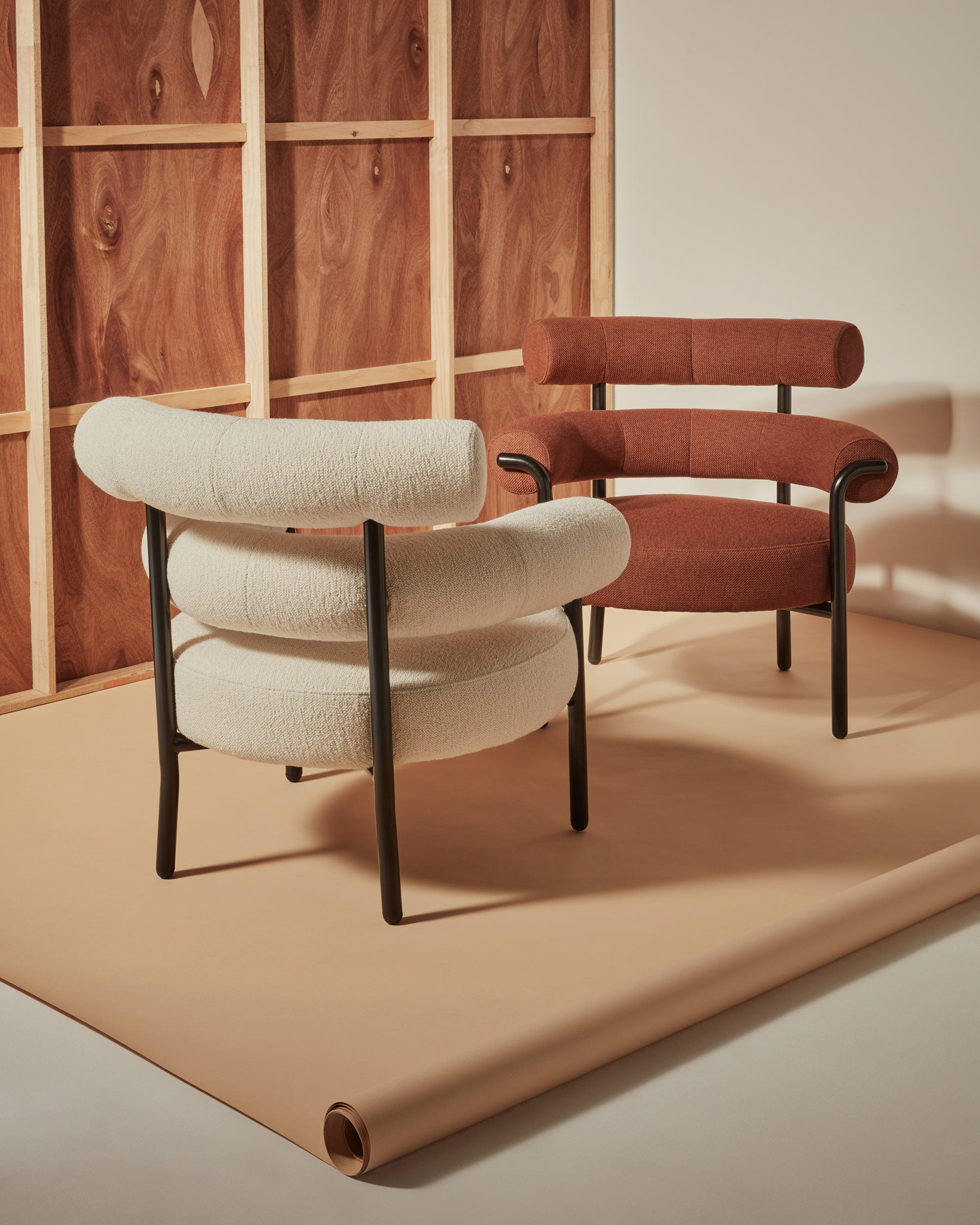Olio Armchair by Christina Bricknell and Gibson Karlo   Round Upholstered Chair Steel Frame   DesignByThem