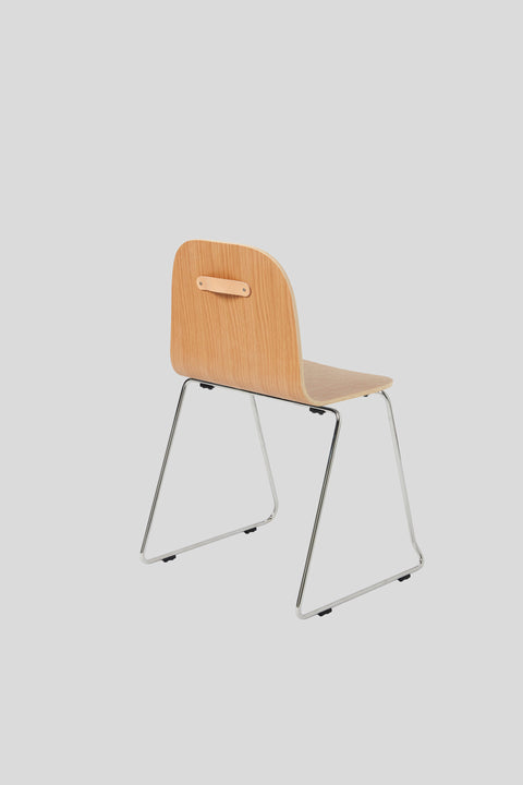 Potato Chair | Stacking Sled Timber & Upholstered Dining Office Chair with Handle | GibsonKarlo | DesignByThem