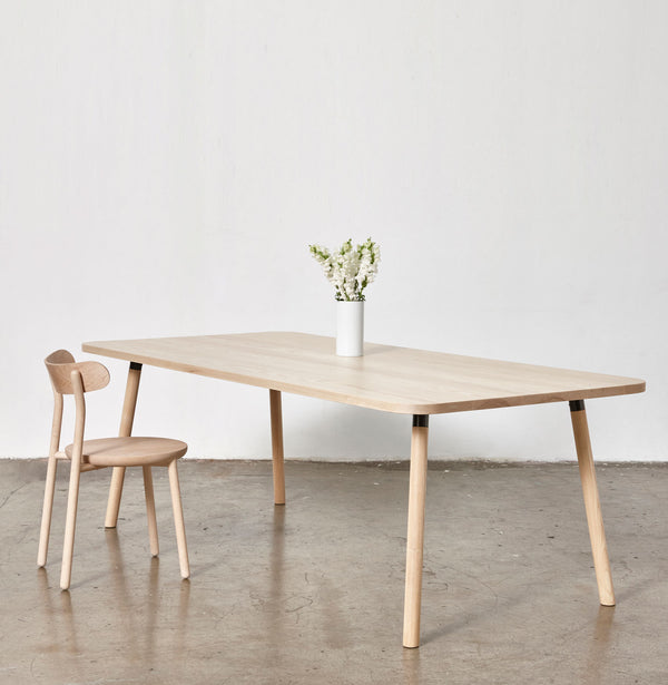 Partridge Ash Timber Dining Table | Rectangle | Powder Coat Brackets |Them Chair | Rock Maple