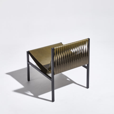 DL Lounge Chair by Dion Lee, Sarah Gibson & Nicholas Karlovasitis | Saddle Leather & Metal | DesignByThem