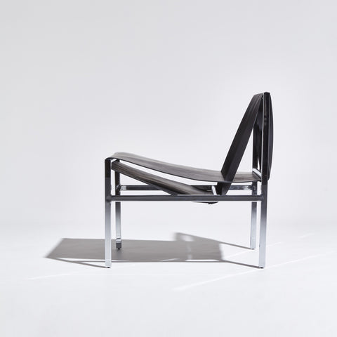 DL Lounge Chair & Bench by Dion Lee, Sarah Gibson & Nicholas Karlovasitis | Saddle Leather & Chrome | DesignByThem