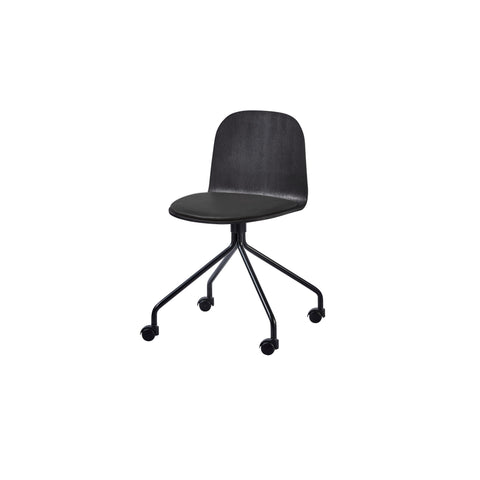 Potato Chair - Black Stained Oak + Seat Pad - Swivel with Castors