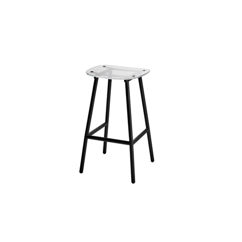 Fenster Bar Stool | Clear Acrylic & Black Stainless Steel Indoor Outdoor Seating | GibsonKarlo | DesignByThem