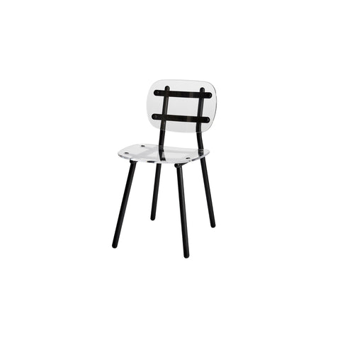 Fenster Dining Chair | Clear Acrylic & Black Stainless Steel Indoor Outdoor Seating | GibsonKarlo | DesignByThem
