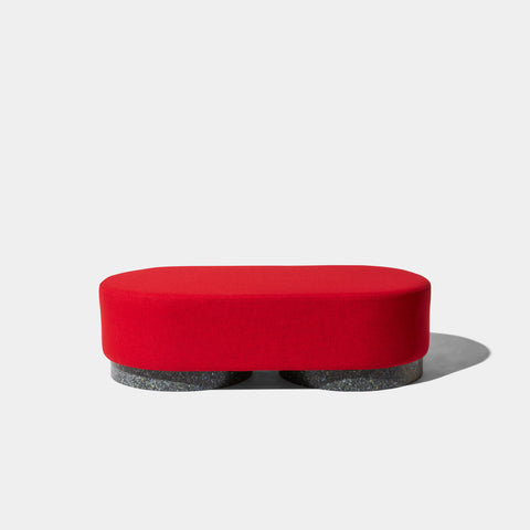 Confetti Bench Large | Upholstered Ottoman | Recycled Plastic Base | GibsonKarlo | DesignByThem